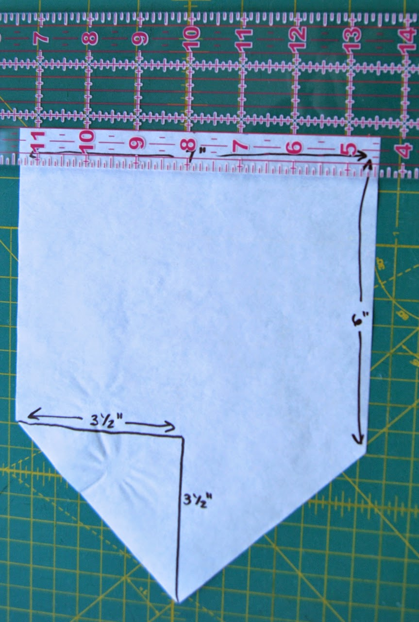 "cutting 3/4"" off the top of the pattern piece"