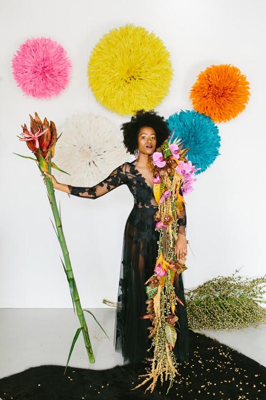 Safari Fusion blog   Flowers, feathers + food   Our Bamileke Feather Headdress feature at Edward & Tea's launch