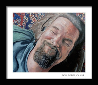Portrait of the dude laying on the rug by Boulder artist Tom Roderick