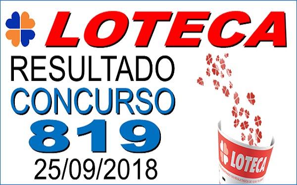 Resultado da Loteca concurso 819 de 25/09/2018 (Imagem: Informe Notícias)