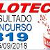Resultado da Loteca concurso 819 (25/09/2018)