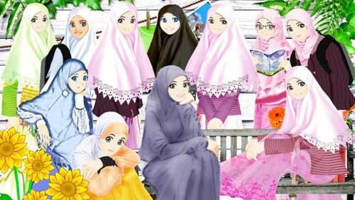 Gambar Muslimah Kartun Persahabatan