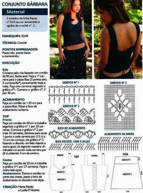 Instrucciones de falda y blusa