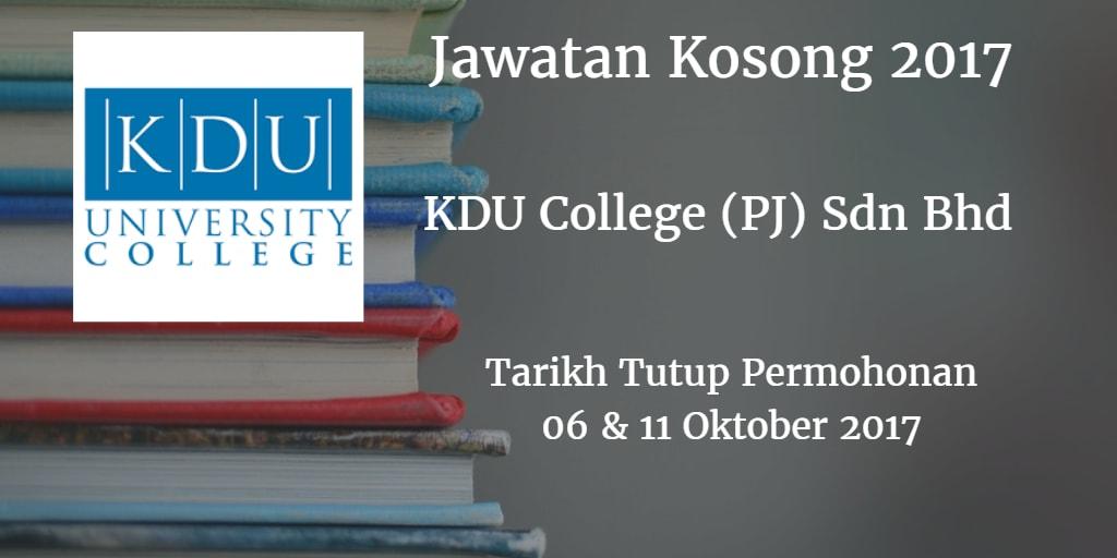 Jawatan Kosong KDU College (PJ) Sdn Bhd 06 & 11 Oktober 017