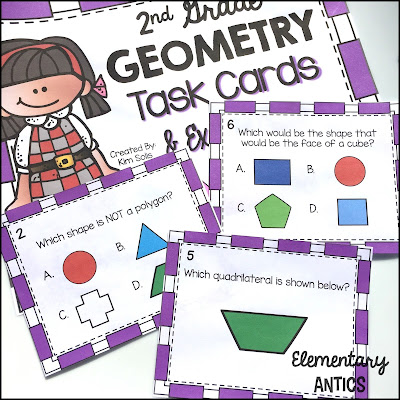 I love using task cards in my math centers!  They are super easy and quick to set up and can be changed at every new topic or concept (geometry, place value, etc.), but your students still know what to do!