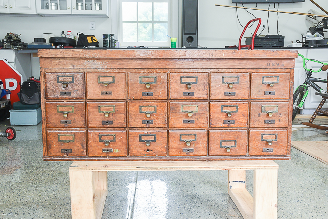 vintage 18 drawer card catalog before
