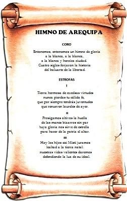 Dibujo de un pergamino con el Himno de Arequipa