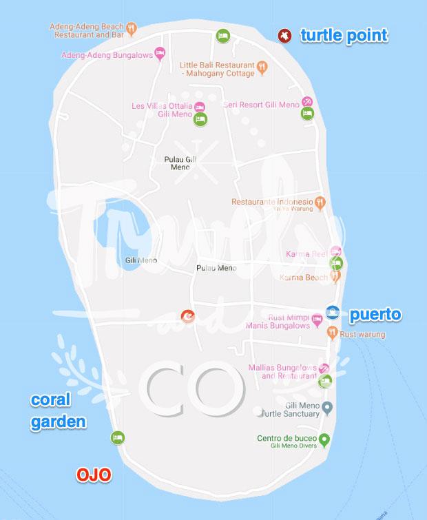 Dónde alojarse en Gili Meno mapa
