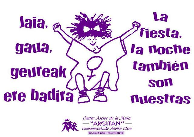 Cartel de Argitan contra las agresiones machistas en fiestas