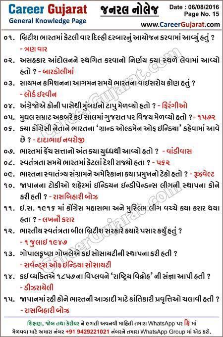 Career Gujarat General Knowledge Page - Dt. 06/08/2016
