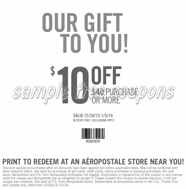 photo about Aeropostale Printable Coupon identified as Aeropostale inside of retail outlet coupon codes printable 2018 / Sunday paper