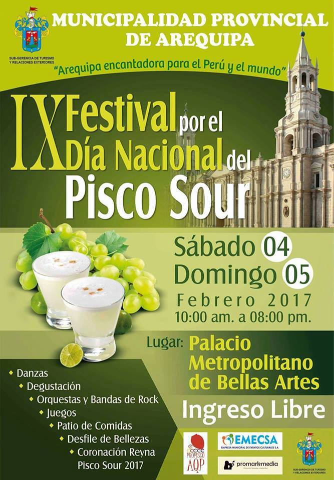 IX Festival del Pisco Sour, Arequipa - del 04 al 05 de febrero