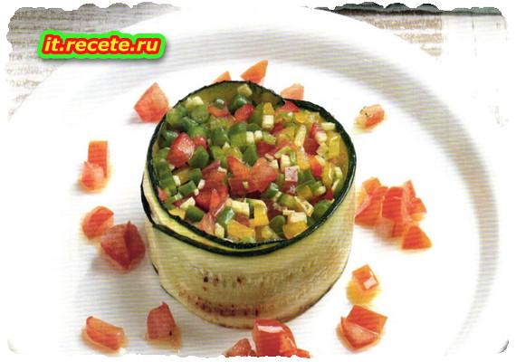 Tartara di verdure in anello di zucchina