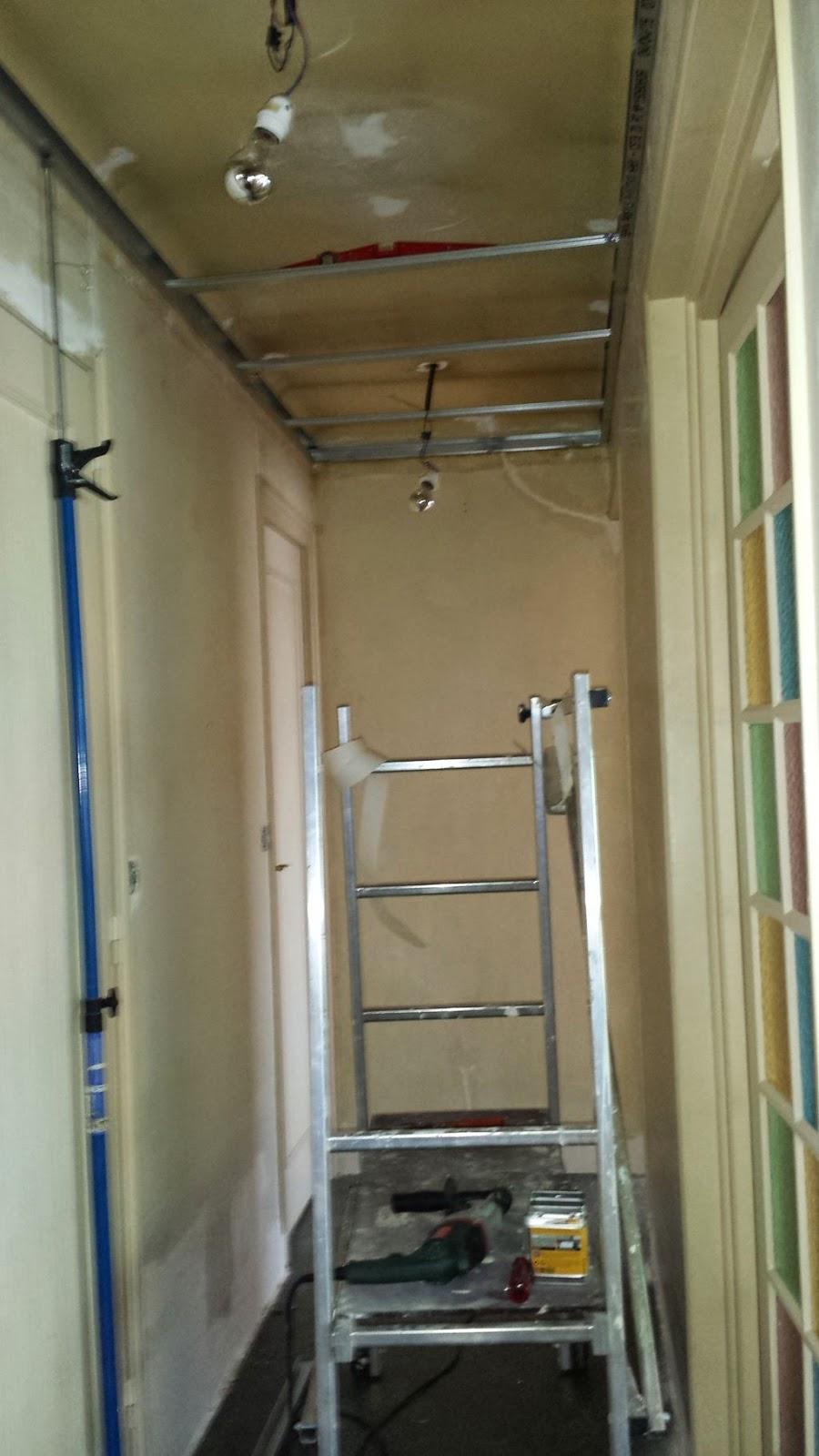 Couloir faux plafond partie 6 massy travaux bricolage for Fixation faux plafond