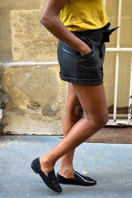 Short en cuir Zara