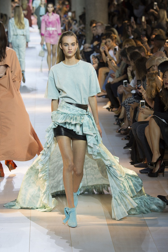 2016 SS Roberto Cavalli Tie-Dye Silk Taffeta Waterfall High Low Skirt on Runway