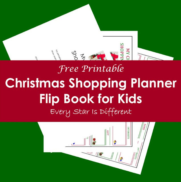 Free Christmas shopping planner flip book for kids.