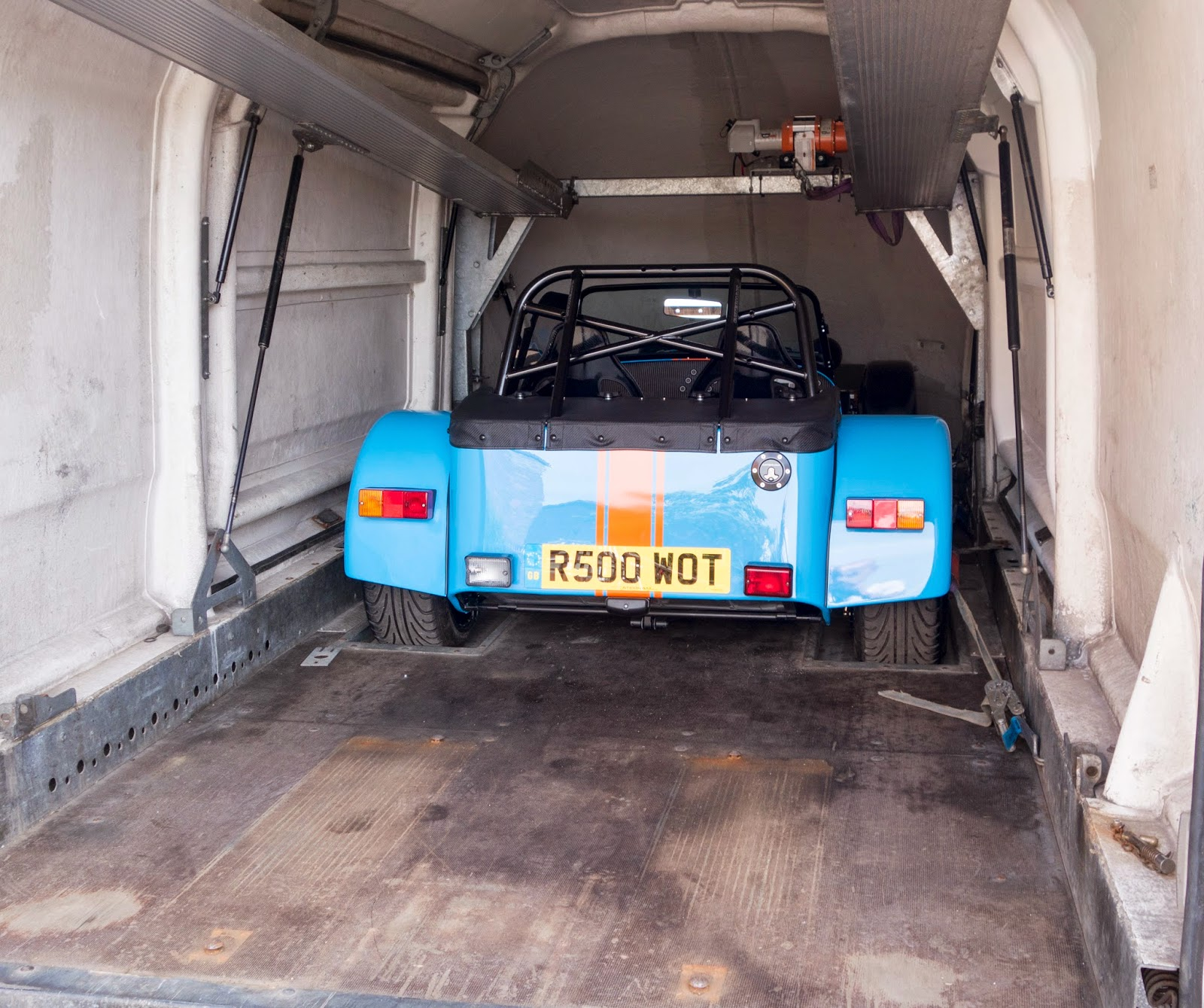 My Caterham R500 on the delivery van ready for unloading