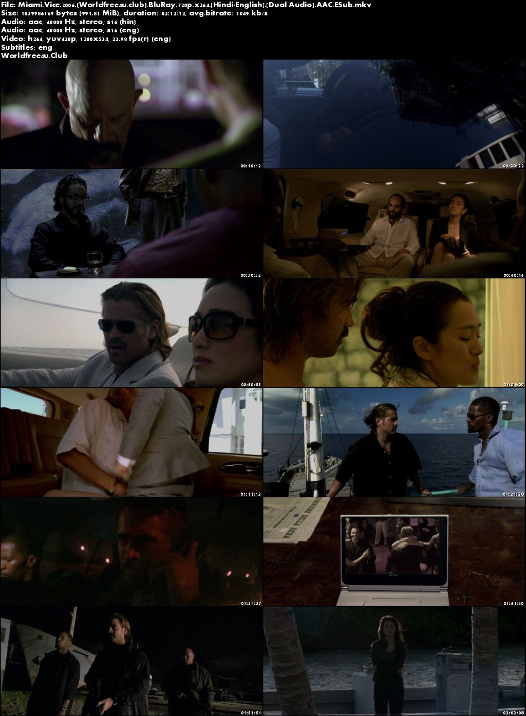 Screen Shoot of Miami Vice 2006 BRRip 720p Dual Audio Unrated Cut In Hindi English ESub Watch Online Hindi Dubbed Hd