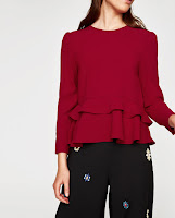 zara dark red frilled top