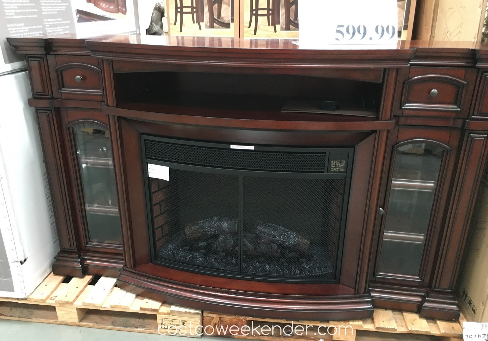 "Well Universal 72"" Electric Fireplace Media Mantle"