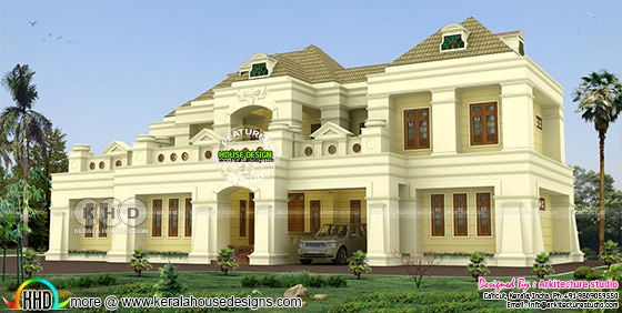 500 square yards 5 BHK colonial residence design