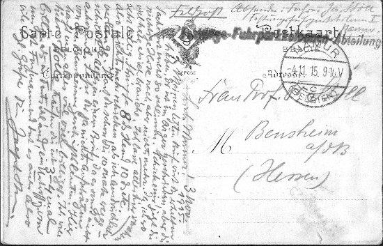Joseph Stoll, Erster Weltkrieg, Festung Namur, Feldpostkarte 02; Nachlass Joseph Stoll Bensheim, Stoll-Berberich 2016
