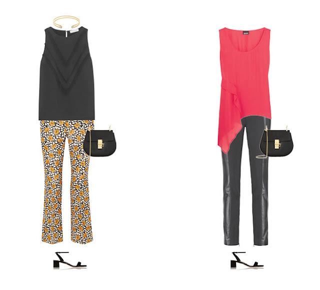 Желтые брюки с черным топом и розовый топ с черными брюками