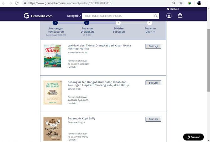 Daftar buku yang dibeli dari Gramedia