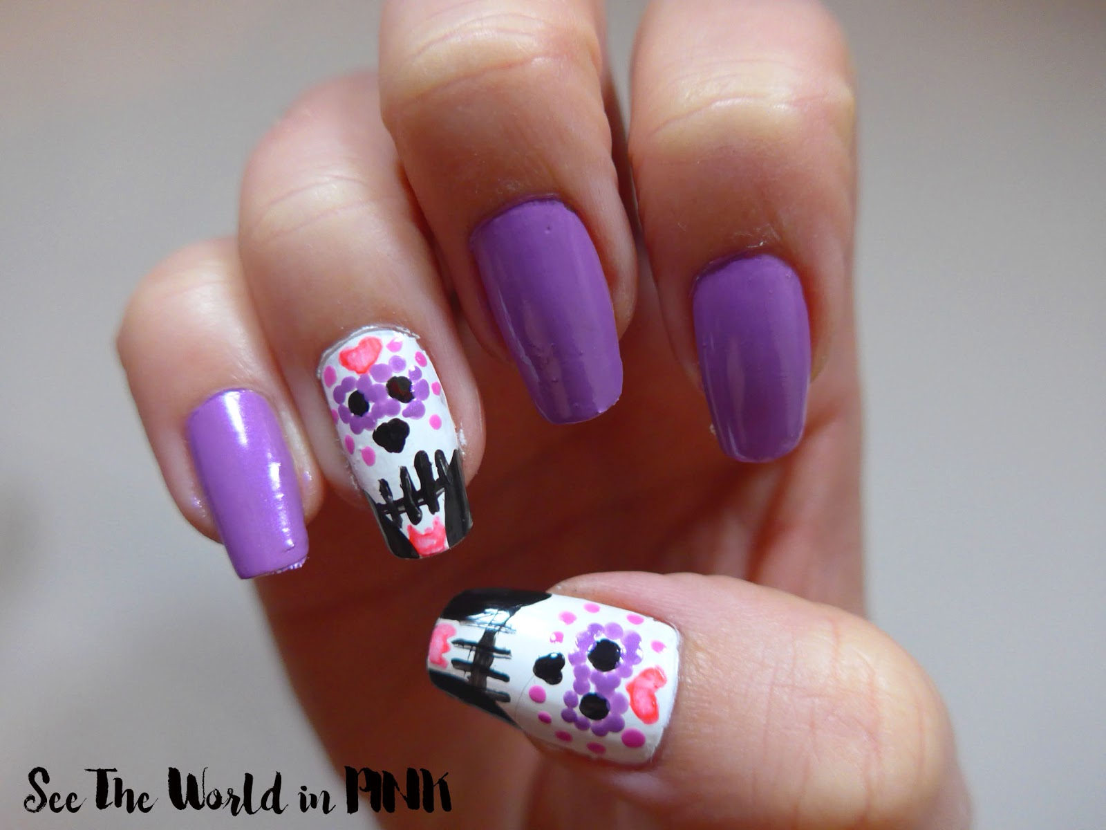 Manicure Tuesday - Dia de Muertos Sugar Skull Nails (Day of the Dead ...