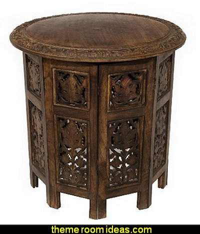Jaipur Solid Wood Hand Carved Accent Table - Antique Brown - Handcrafted Carved Wood Folding Accent Table