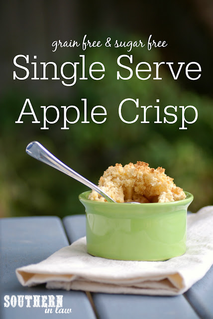 Low Calorie Single Serve Apple Crisp Recipe - single serving apple crumble, low fat, gluten free, clean eating, sugar free, grain free, paleo, healthy, vegan