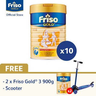 Friso Gold 3 900gx10 + Free Friso 3 2x900g & Scooter