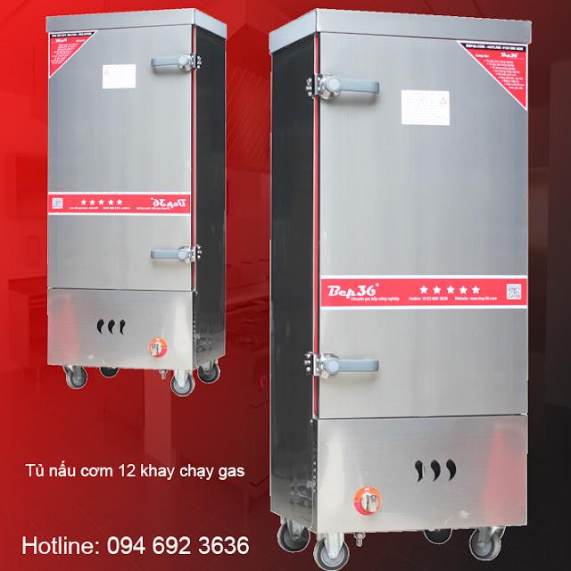 Tủ cơm công nghiệp gas điện 12 khay