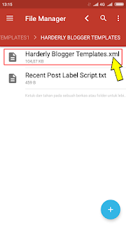 Cara membuat berkas xml template blogger menggunakan aplikasi Android pengelola berkas