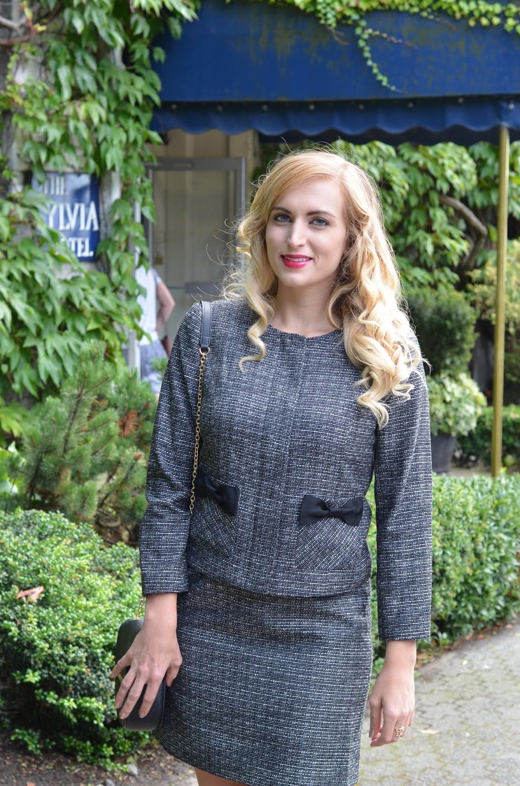 womens tweed blazer with bows