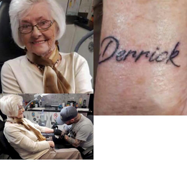 82 year old woman gets her first tattoo in memory of her late husband