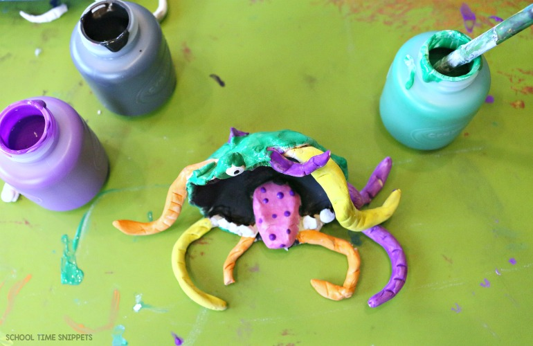 Painting Pinch Pot Monsters