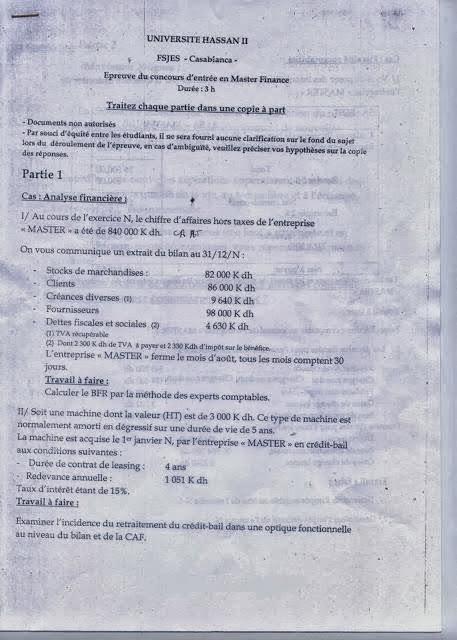 Concours Master Finance - FSJES CASABLANCA
