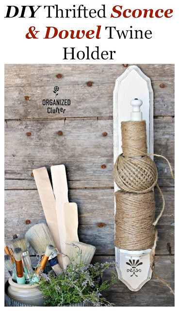 DIY Candle Sconce & Dowel Twine Holder #thriftshopmakeover #candlesconce #DIY #repurpose #upcycle #stencil