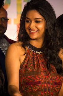 Keerthy Suresh in Maroon Color Dress with Cute and Awesome Lovely Chubby Cheeks Smile 2