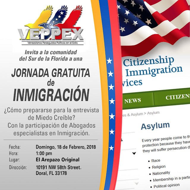 VEPPEX MIAMI Invita a Jornada Informativa Gratuita de  Immigracion Sabado 18 de Febrero , 2018