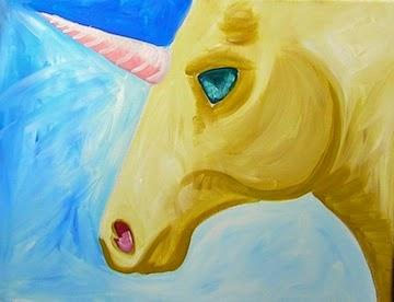 Commencer par colorier la licorne ne jaune