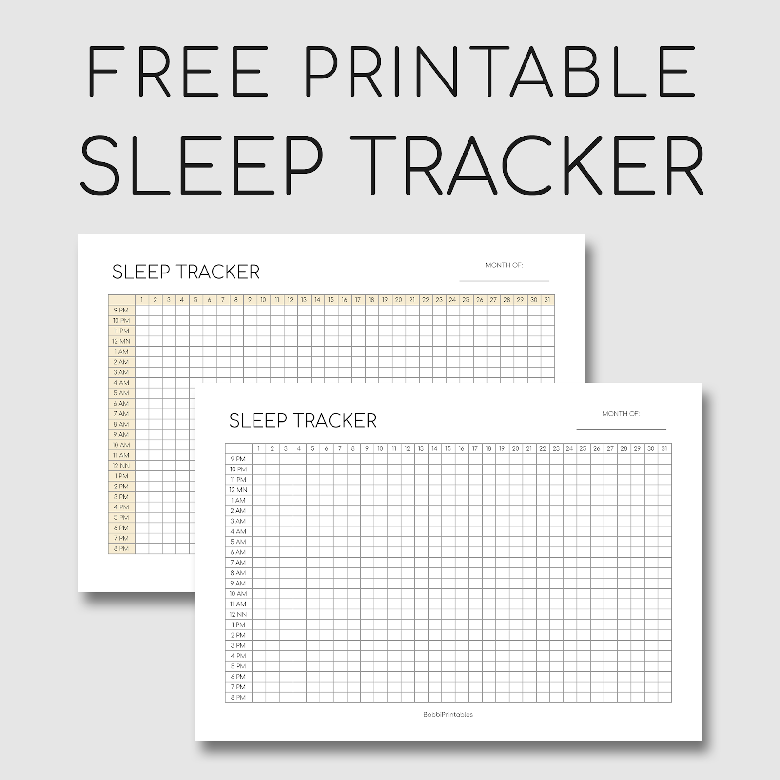 Smart image within sleep tracker printable