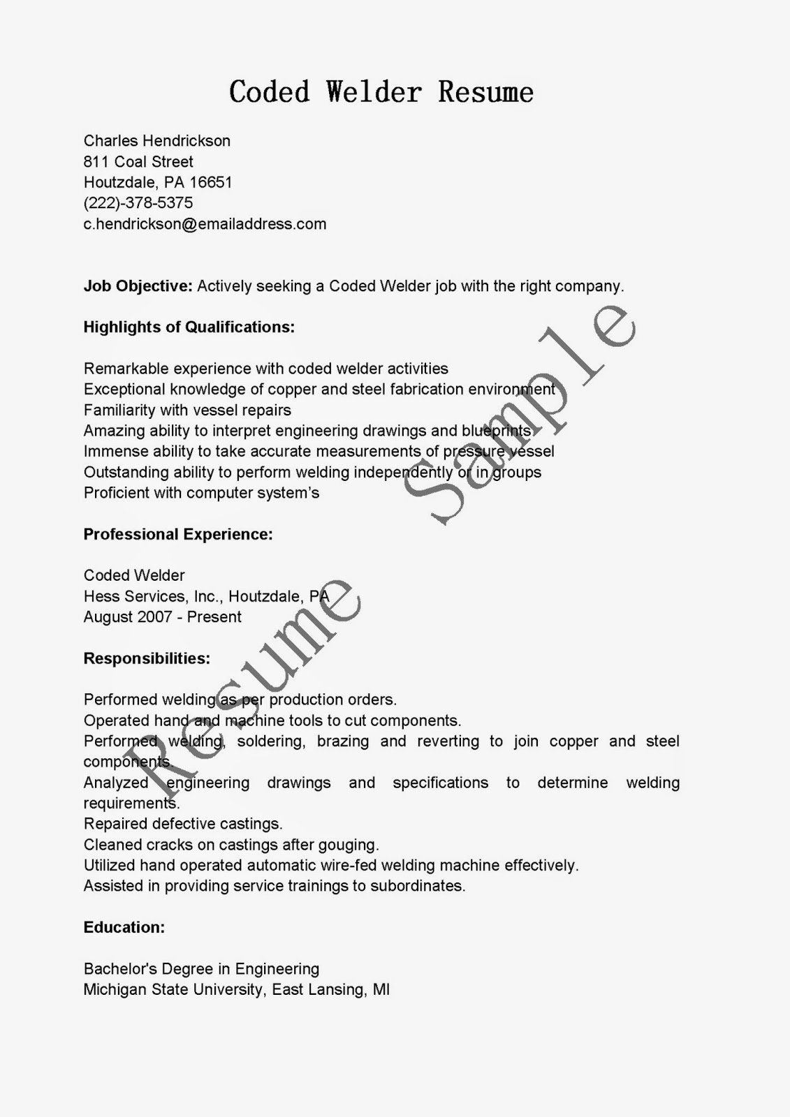 Resume For Welder Job Contoh Cv Welder Contoh Sur