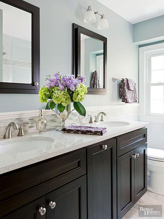 black vanity blue walls
