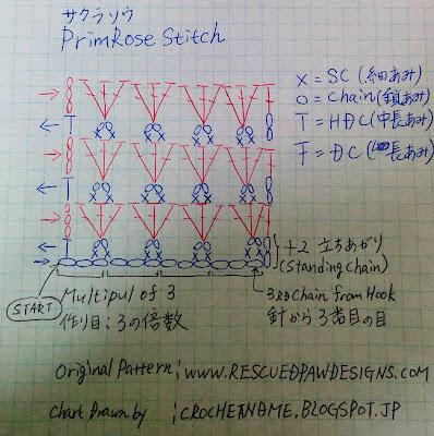 プリムローズステッチの編み図/Primrose Stitch Chart