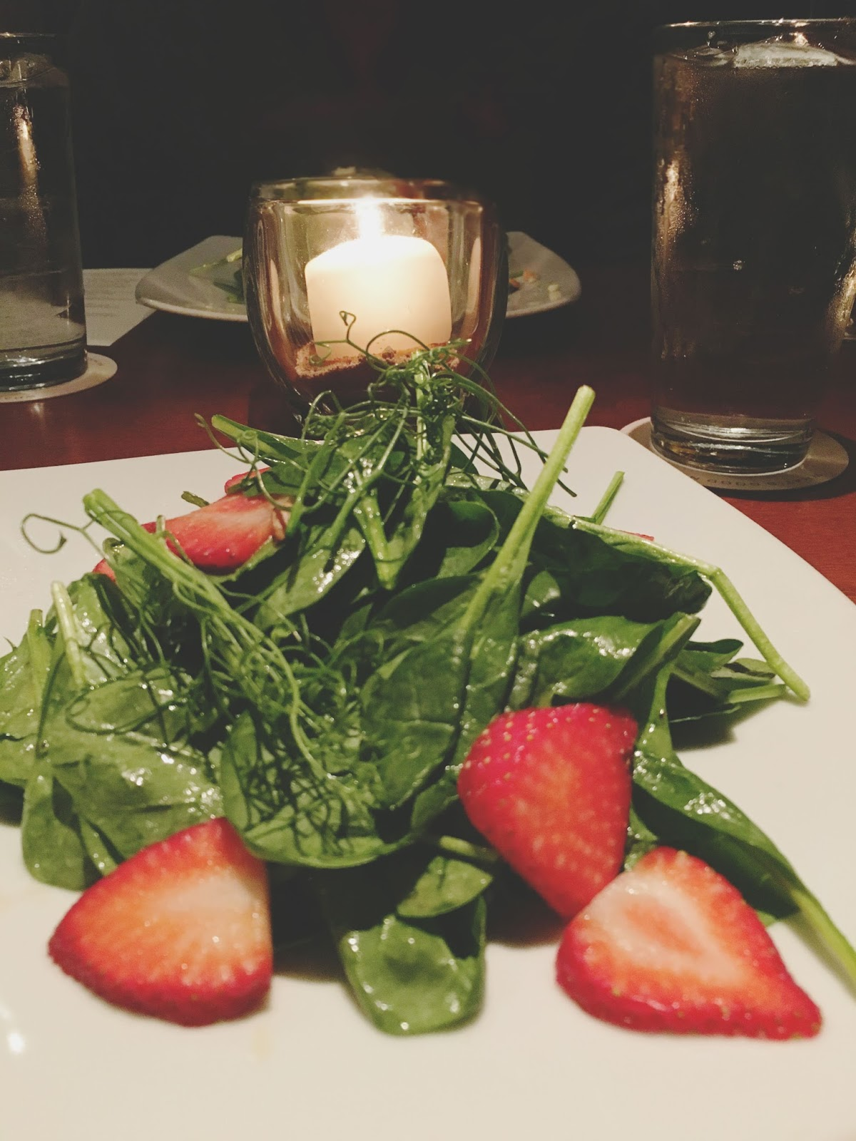 spinach salad at Seasons 52, a restaurant in Houston, Texas