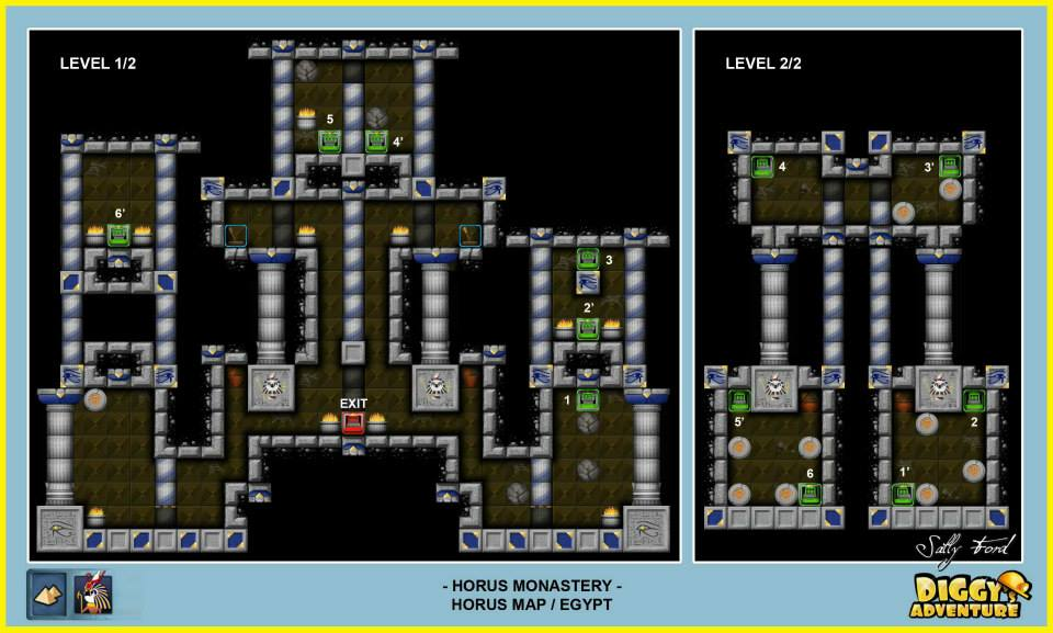 Diggy's Adventure Walkthrough: Horus Egypt Quests / Horus Monastery - Levels 1 and 2
