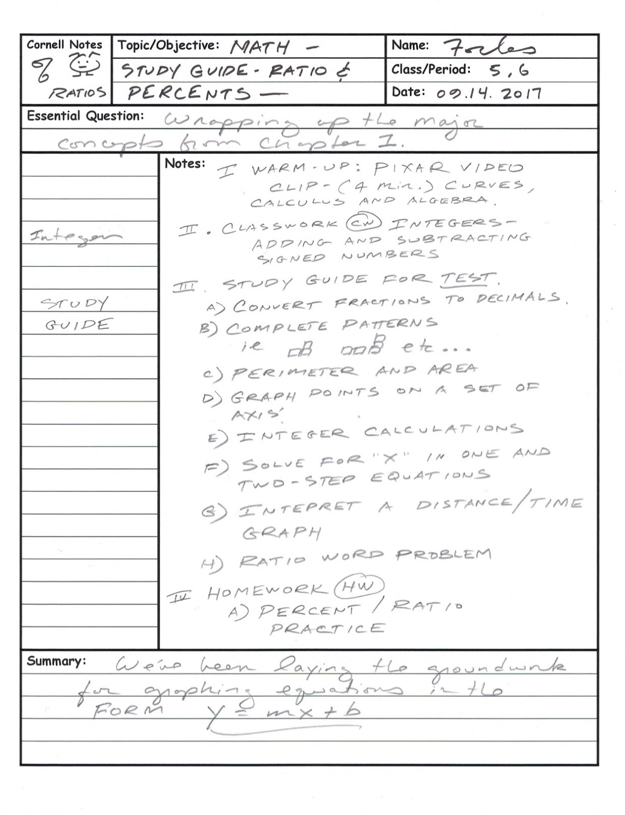Cornell Notes Math Template subtracting fractions with whole ...